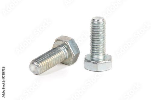 metal steel bolt on white background