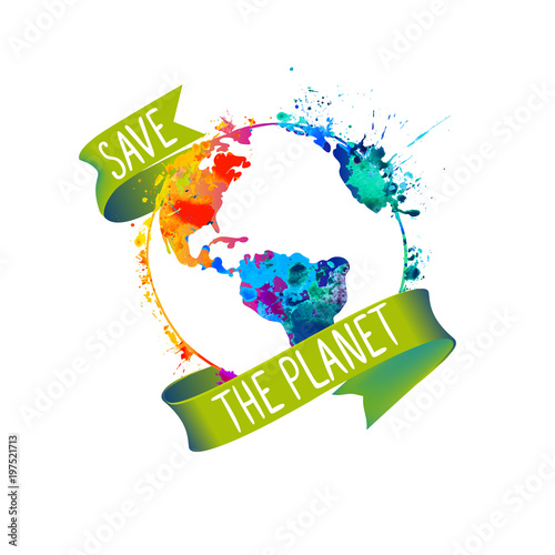 Save the planet. Splash paint Earth
