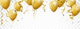 Celebration banner with gold confetti and balloons - 197526159