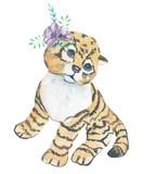 Yellow cat. Watercolor illustrations.