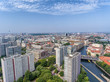 Aerial view of Berlin skyline along Spree river, Germany