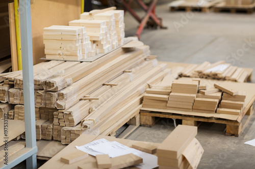 production, manufacture and woodworking industry concept - wooden or medium density fibreboards at workshop - 197533187