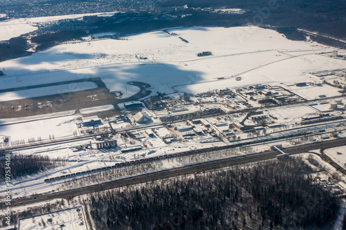 Aerial view of the industrial district at winter