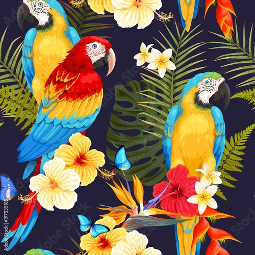 Seamless macaw and flowers - 197535185