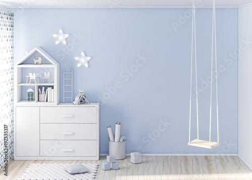Mockup ściana w pokoju dziecka 3d renderingu