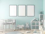 Three poster frame mockup in child room with oval crib 3d rendering - 197535560