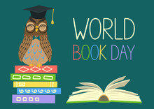 World Book Day Smart Owl On Stack Of Books Open Book And Lettering On Teal  Knowledge Education Studying Learning  Illustration Sticker