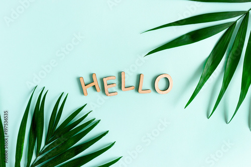 Word Hello made of wooden letters. Border frame made of green leaves on a mint pastel background