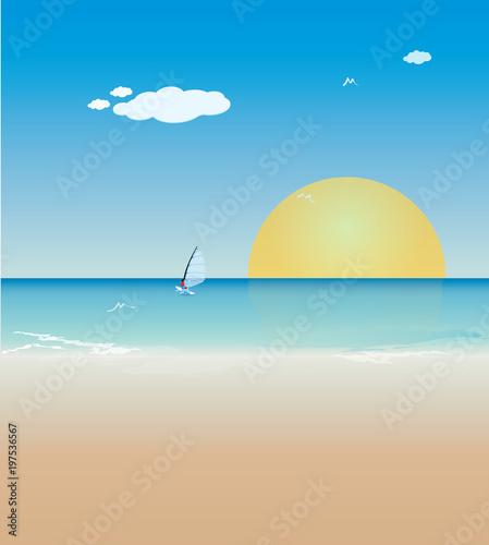 Fototapeta Yaz tatili, deniz, kum ve güneş.