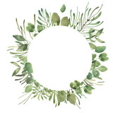 Leafy Leaf. Green watercolor flowers and florals geometric frame #1 - 197538365