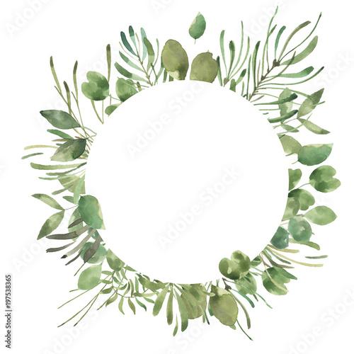 Liść Liściasty. Zielone akwarele i kwieciste geometryczne ramki # 1