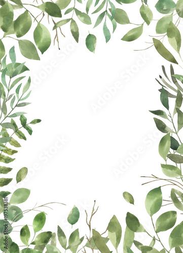 Liść Liściasty. Zielone kwiaty akwarela i kwieciste geometryczne ramki # 4