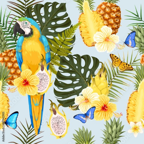 Seamless macaw, pineapple and flowers - 197542905