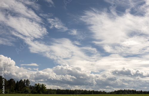 Landscape with clouds over the forest. - 197544323