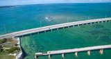 Aerial view of Broken Bridge and Overseas Highway in Bahia Honda state park, Florida