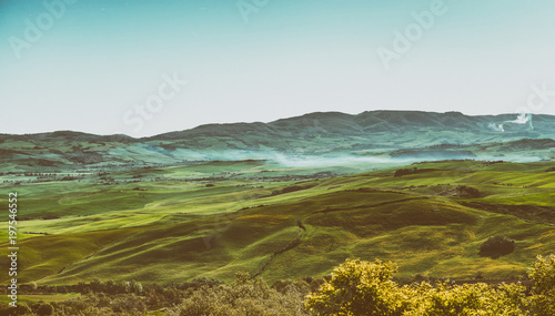 Fotobehang Toscane Beautiful scenario of Tuscany hills in spring season, Italy