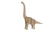 paper dinosaur toy isolated on white background.diplodocus made out of cardboard