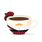 Vector cup of coffee or tea in a national costume of Scotland with a mustache