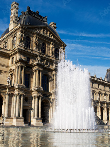 Morning Fountain, The Louvre, Paris, France Poster