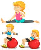 Girl doing exercise with big ball - 197570524