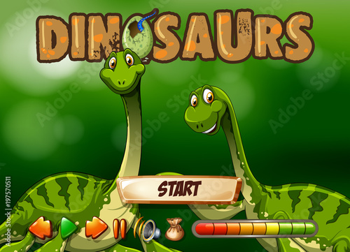 Fotobehang Groene Game template with two dinosaurs