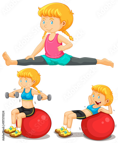 Girl doing exercise with big ball