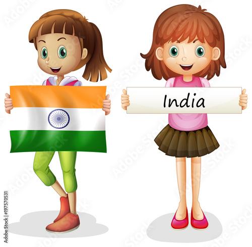 Fotobehang Kids Girls with flag of India