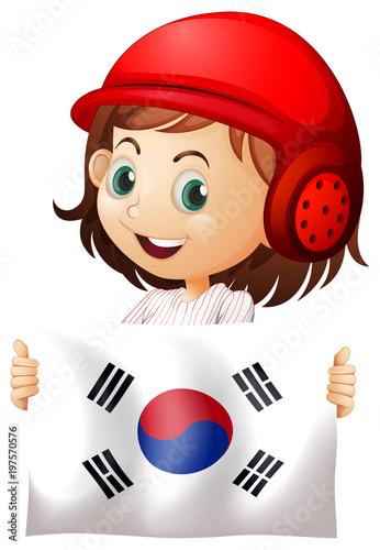 Fotobehang Kids Cute girl and flag of South Korea