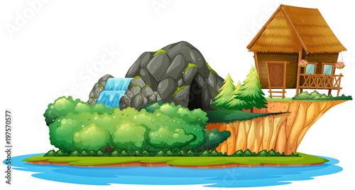 Fotobehang Kids Scene with cottage on island
