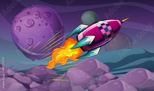 Fotobehang Kids Scene with rocket flying over the moon