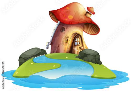 Fotobehang Kids Mushroom house on island