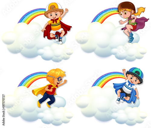 Fotobehang Kids Four kids in hero costume flying over rainbow