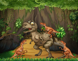 T-Rex fighting raptors in forest - 197570900