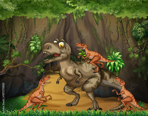 Fotobehang Kids T-Rex fighting raptors in forest