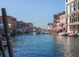 the famous bridge with three arches in the Cannaregio district in Venice, Italy