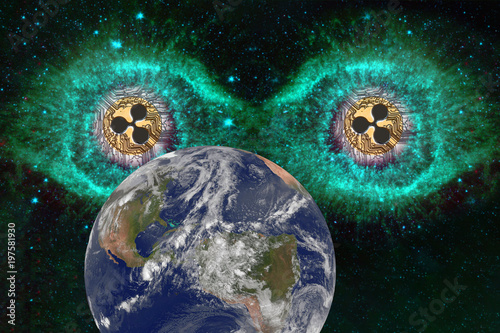 Fotobehang UFO Big eyes Coins of Ripple in space looking at the earth. Observation, experiment from the outside. Alien concept. Elements of this image furnished by NASA