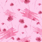 Watercolor vintage pink pattern. Seamless background with a pattern - flower cornflower. Beautiful splash of paint, art background for fabric, paper, textiles