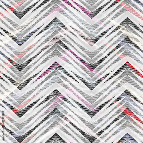 Abstract seamless colorful zigzag geometric pattern. - 197585782