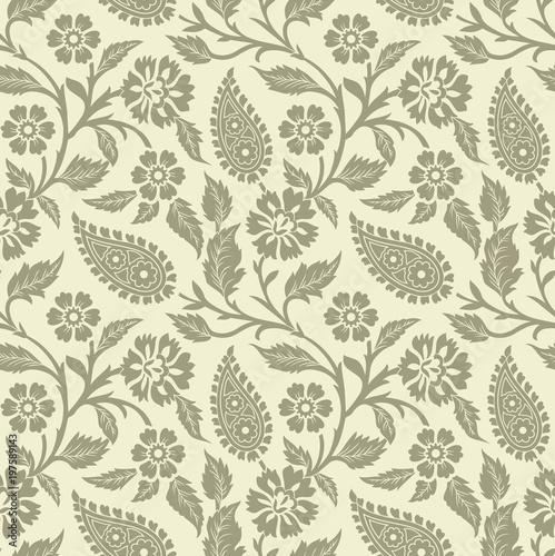 Cotton fabric Seamless rich paisley wallpaper