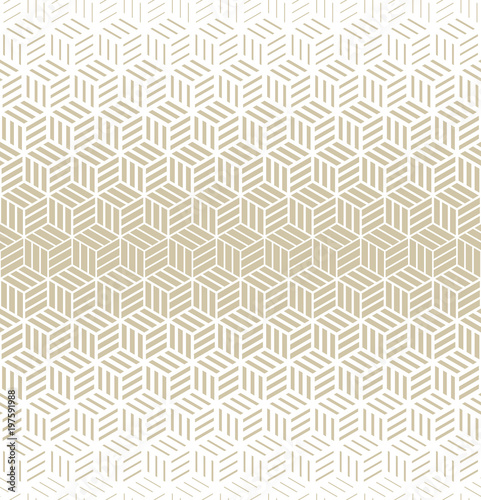 Abstract geometric pattern with cubes and strips. A seamless