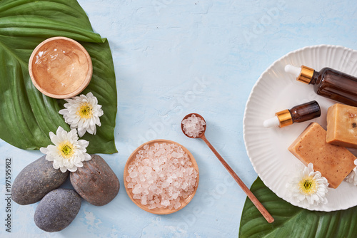 Tubes of bathroom amenity contains on wooden background - 197595982