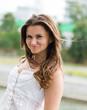 beautiful european woman smiling outdoors