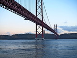 25th of April Suspension Bridge over the Tagus river in Lisbon, Portugal