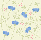 spring floral pattern of cornflowers and meadow flowers, summer ornament