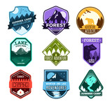 Fototapety Badge for forest camping, exploration camp, tourism extreme sport club. Wild travel sticker.