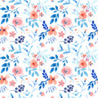 Nice pink floral seamless pattern with blue leaves - 197624303