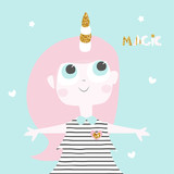 Cute little girl with unicorn horn and gold glitter elements. Vector hand drawn illustration.