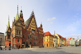 Historical quarter of Wroclaw, Poland - Old Town and Market Square, Town Hall Tower and medieval tenements
