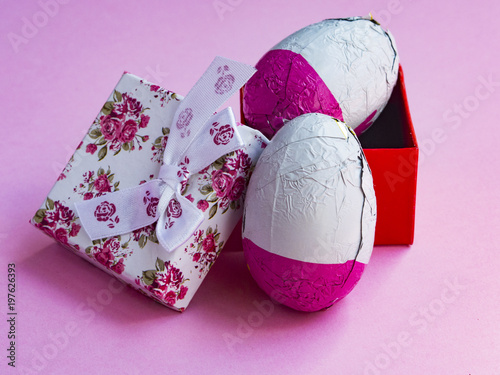 Pink easter eggs with gift box
