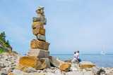 Pebbles zen tower at sea shore. - 197629526